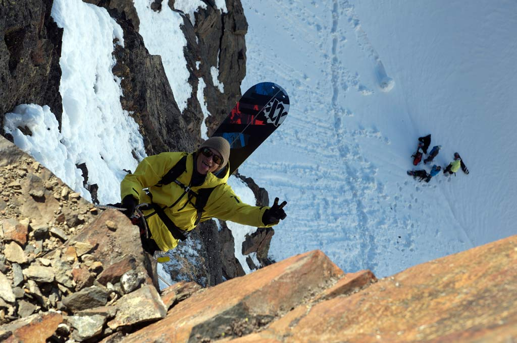 Stani on the way, Splitboard Abseil-Action