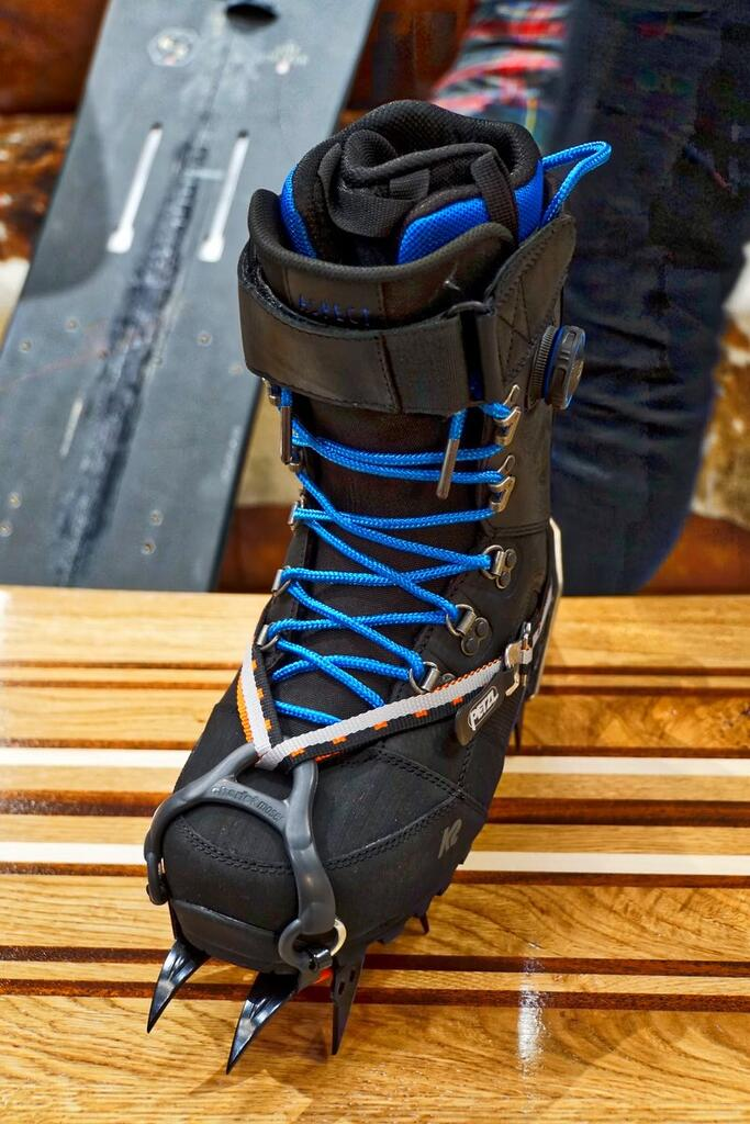 K2 Ascent boot with crampons