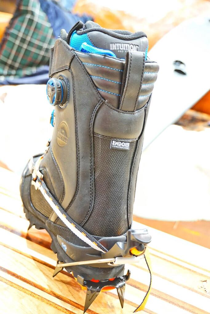 K2 Ascent boot with crampons back