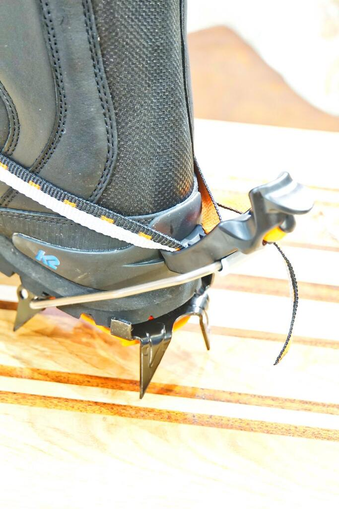 K2 Ascent boot with crampons back detail