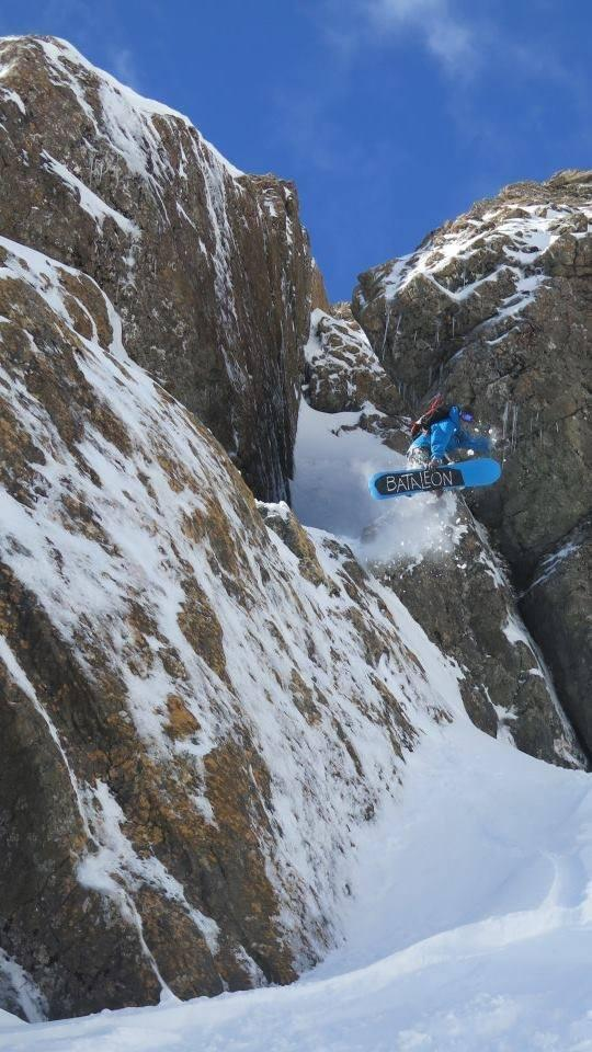 Temple Basin. Rhys Iggulden exiting out of laundry chute
