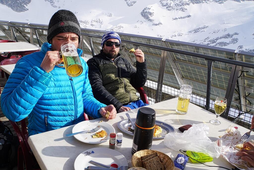 Cheers at the Conscrits hut