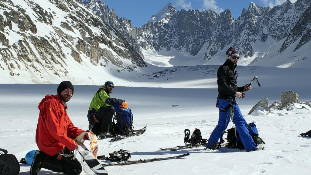 Getting the skins ready at Glacier Argentiere