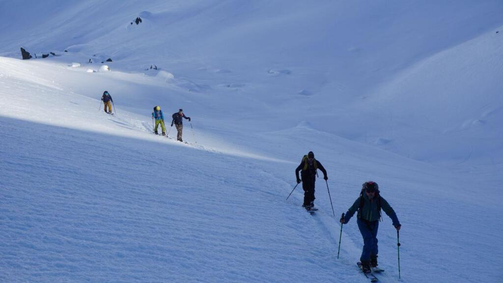 Splitboarding at Arlberg las uphill for the day