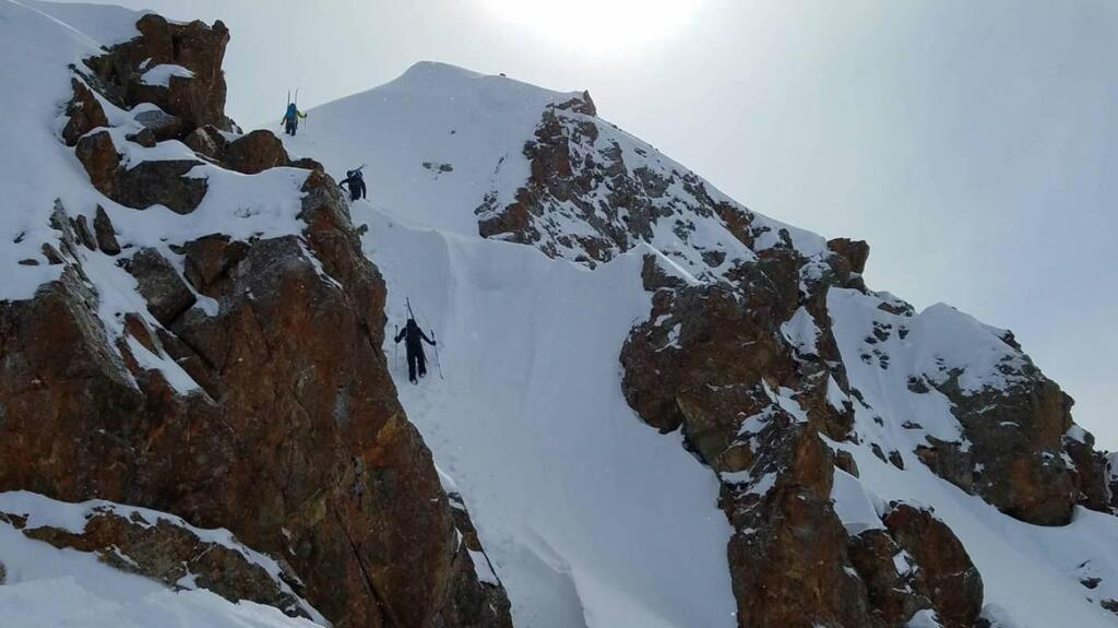 Hiking up a col in Kyrgyzstan