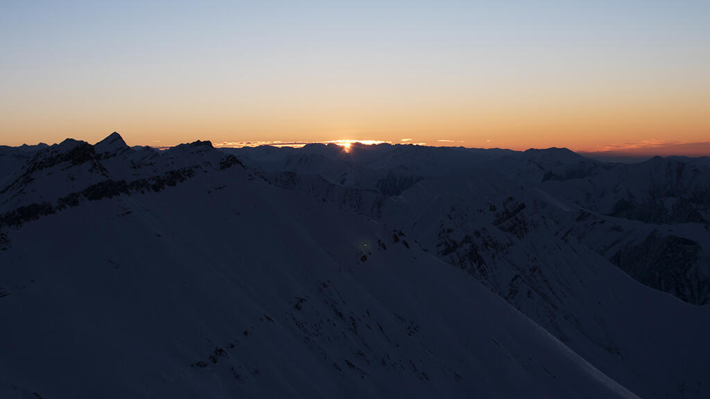 Sunrise over the Caucasian Mountains.