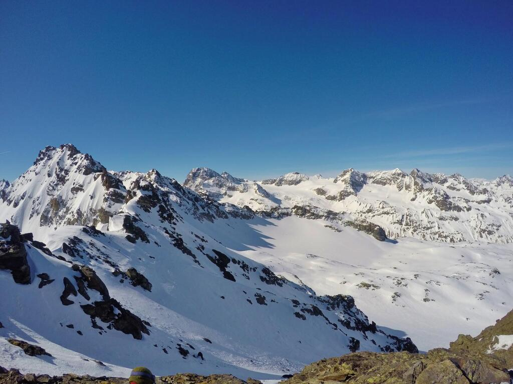 View from the Haagspitze to Piz Buin, Silvretta Horn and Schneeglocke.