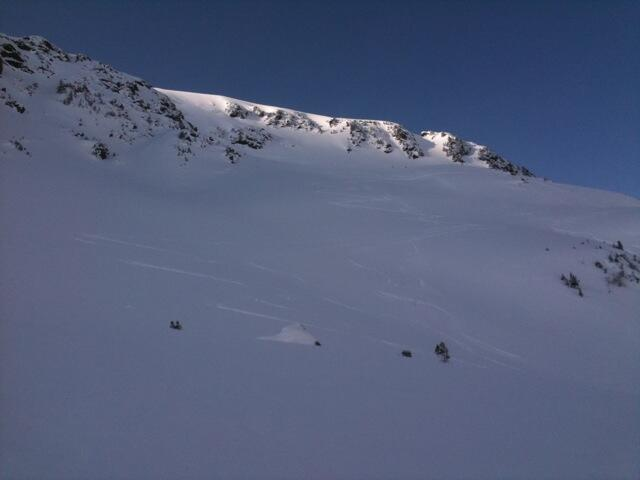 Hochwanner beginning of S-bend, Splitboard, backcountry route, Snowboardtour