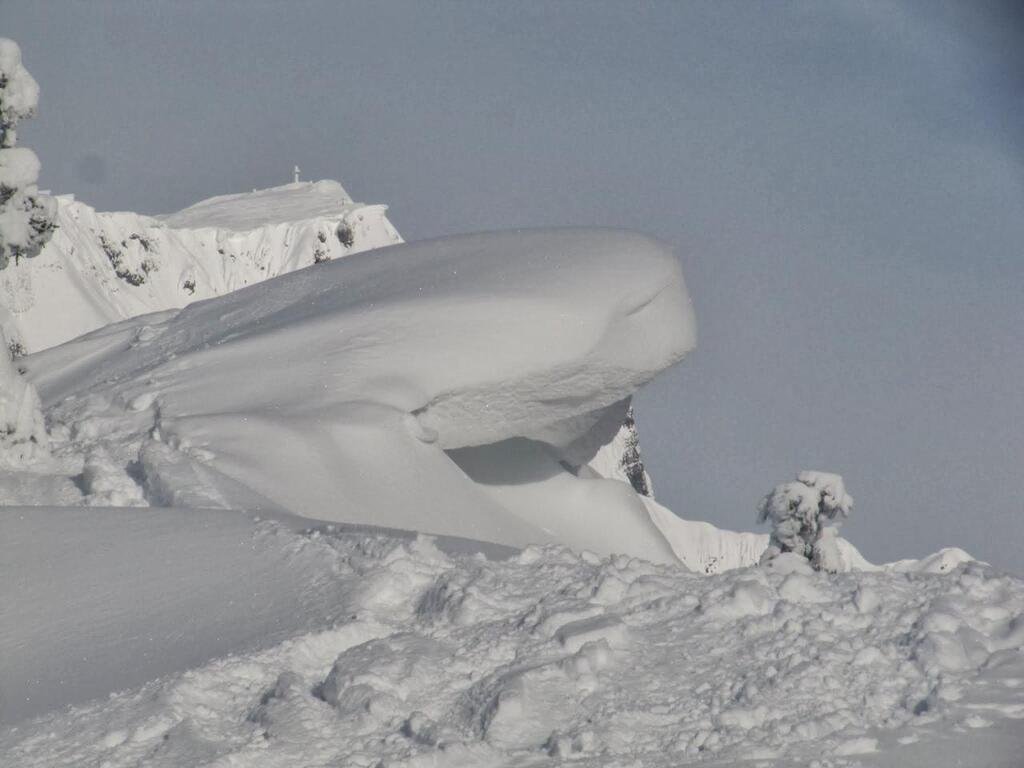 Cornice at the summit ridge! Keep away from it!
