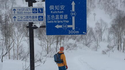Wo geht's lang? Splitboarding in Niseko Japan