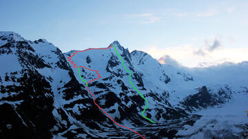 Splitboard Großglockner, 20.00 o`clock the summit is free, overview pic