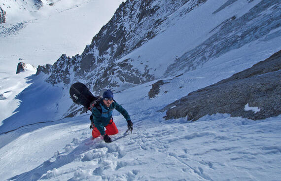 Davide climbing the face of Aiguille Verte