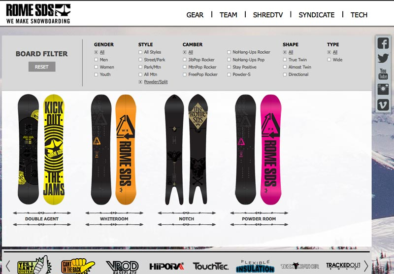 Rome SDS Splitboard und Powder Quiver